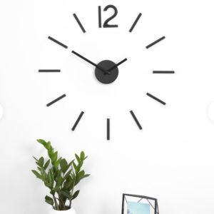 Horloge à quartz metal noir avec adhésifs design