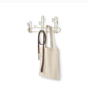 Porte-manteau avec 5 crochets en metal doré