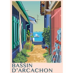 Affiche Bassin d'arcachon - village de l'Herbe- authentik design
