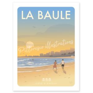 Affiche de la plage de la Baule - Pittoresco - Authentik Design