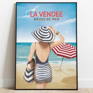 Affiche la Vendée - Bain de mer - Femme en maillot sur la plage - Authentik design