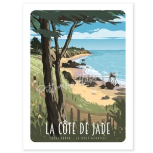 Affiche la cote de jade - loire atlantique - pornic - pittoresco - authentik design