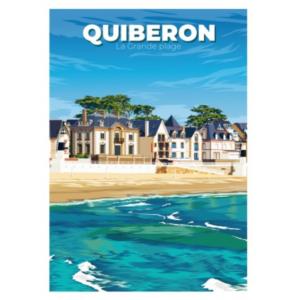 Affiche la grande plage de Quiberon - Bretagne - Authentik Design