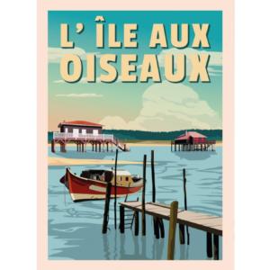 Affiche l'ile aux oiseaux - Bassin d'arcachon - authentik design