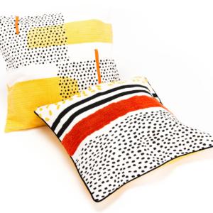 Coussins popcorn 3 noir jaune et rouge - authentik design