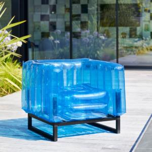 Fauteuil mojow en platsique gonflable bleu - Authentik Design