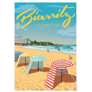 Affiche la grande plage de Biarrtitz - authentik design
