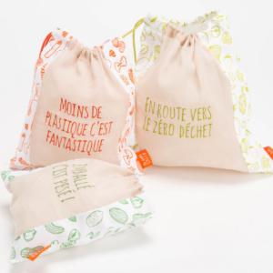 Lot de 3 sacs vrac zéro déchets - sachet de conservation - authentik design
